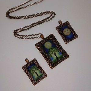 Vintage Tree Moon Necklace 🌳🌛